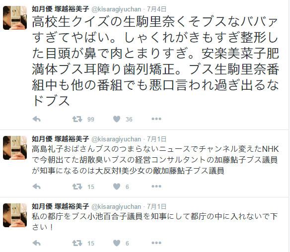 「塚越裕美子容疑者(36)」が嫌いな有名人